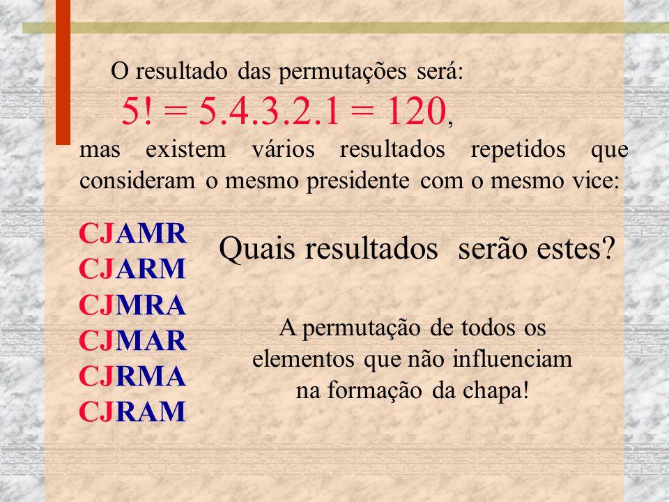 O resultado das permutações será: 5! = 5.4.3.2.1 = 120,