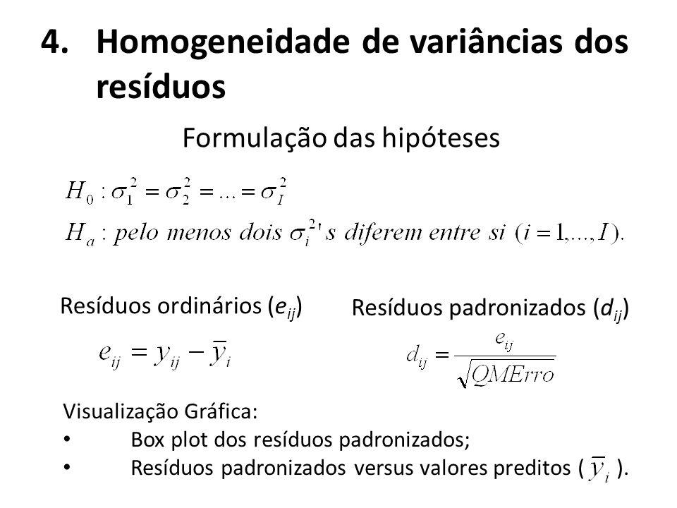Homogeneidade de variâncias dos resíduos