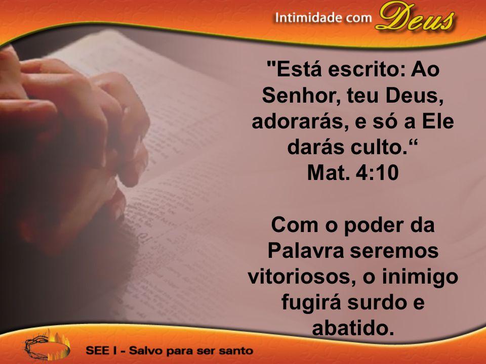 Está escrito: Ao Senhor, teu Deus, adorarás, e só a Ele darás culto.