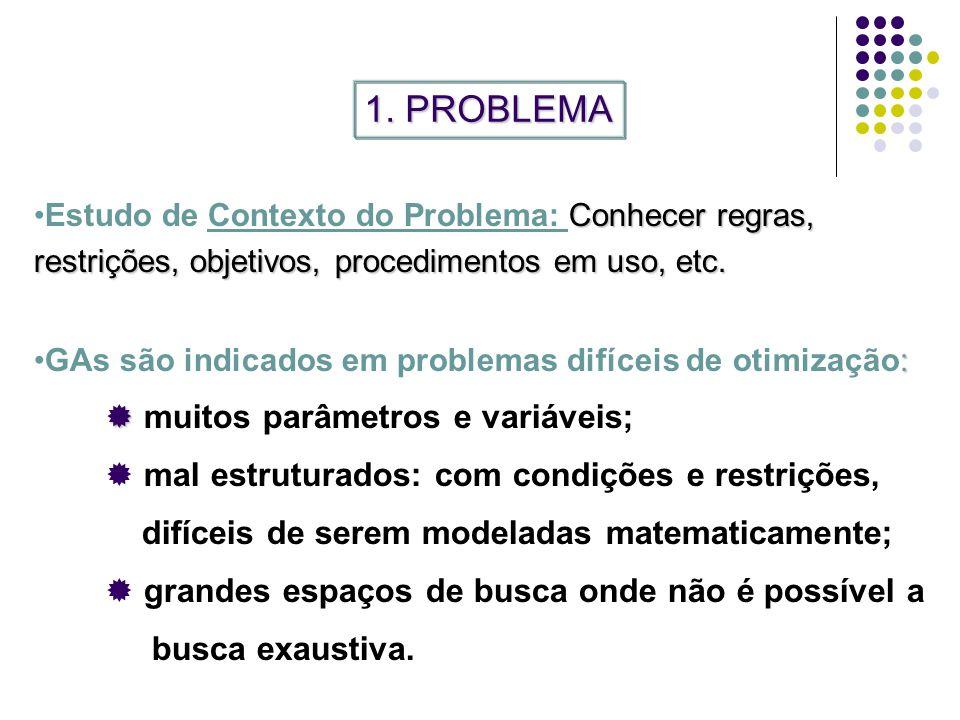 1. PROBLEMA muitos parâmetros e variáveis;