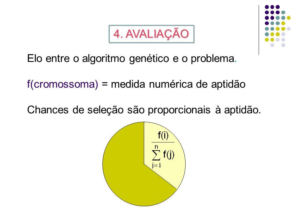 4. AVALIAÇÃO Elo entre o algoritmo genético e o problema.