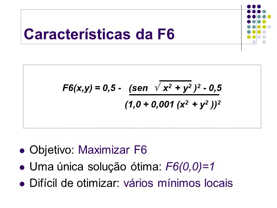 Características da F6 Objetivo: Maximizar F6