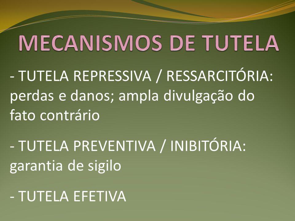 MECANISMOS DE TUTELA - TUTELA REPRESSIVA / RESSARCITÓRIA: perdas e danos; ampla divulgação do fato contrário.