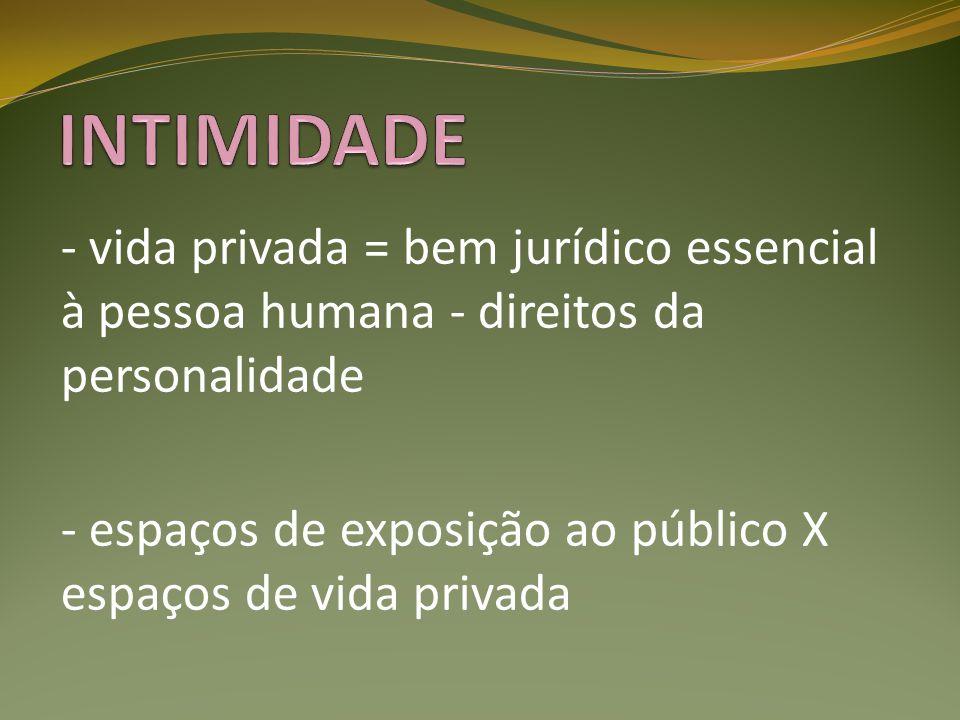 INTIMIDADE - vida privada = bem jurídico essencial à pessoa humana - direitos da personalidade.