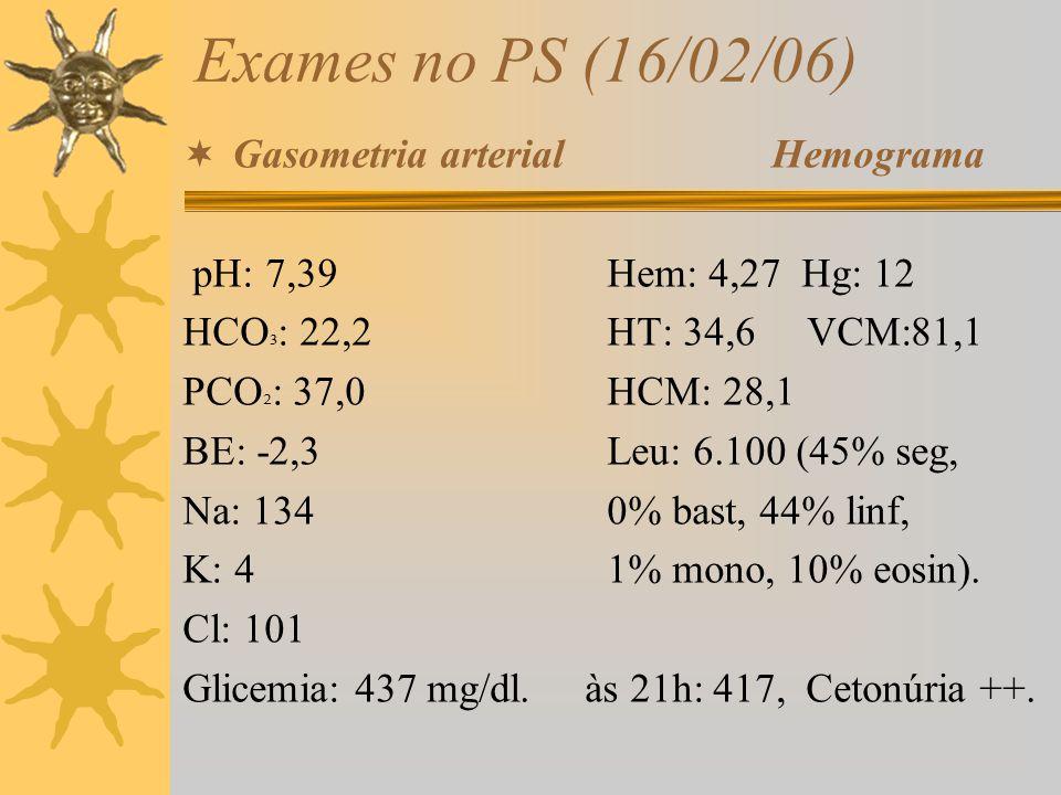 Exames no PS (16/02/06) Gasometria arterial Hemograma