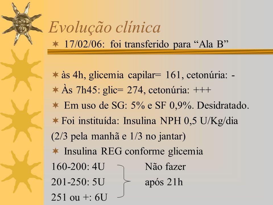 Evolução clínica 17/02/06: foi transferido para Ala B