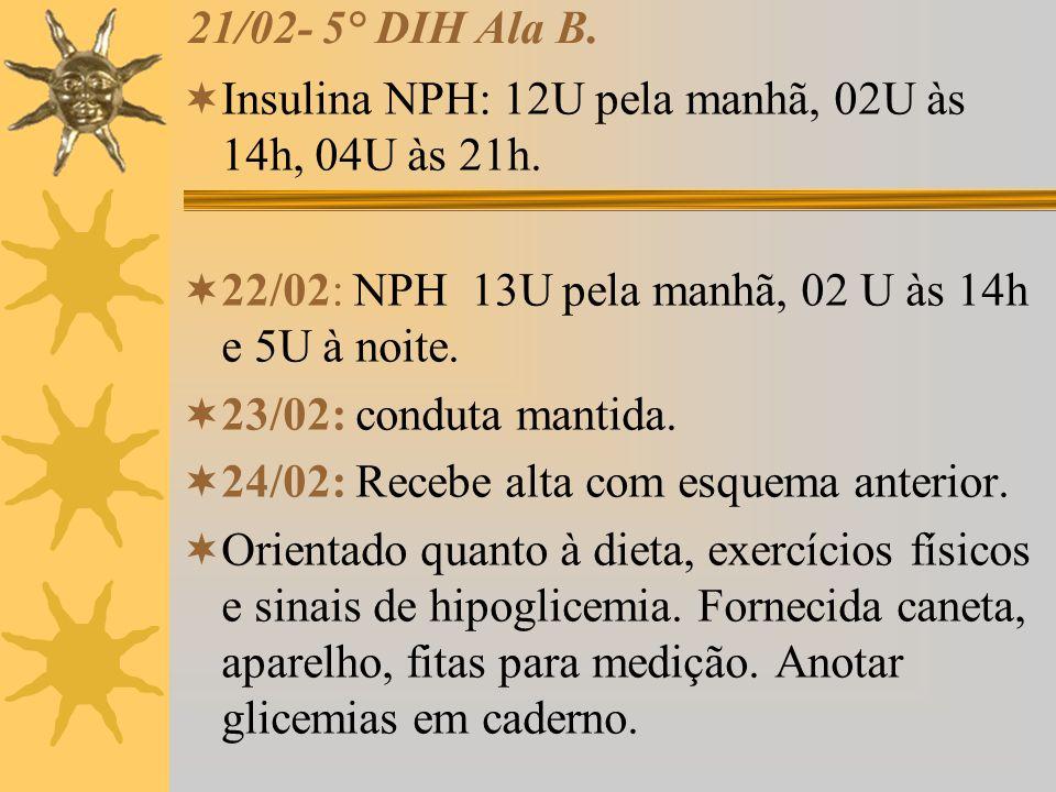 21/02- 5° DIH Ala B. Insulina NPH: 12U pela manhã, 02U às 14h, 04U às 21h. 22/02: NPH 13U pela manhã, 02 U às 14h e 5U à noite.