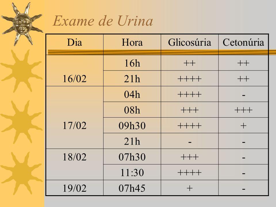 Exame de Urina Dia Hora Glicosúria Cetonúria 16/02 16h ++ 21h ++++