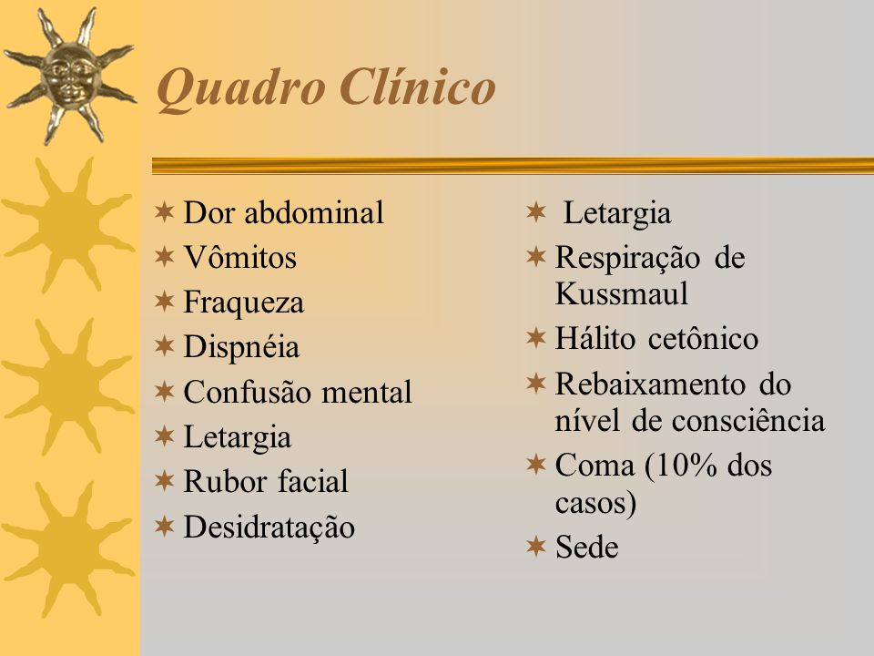 Quadro Clínico Dor abdominal Vômitos Fraqueza Dispnéia Confusão mental