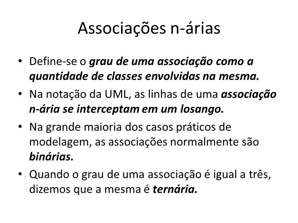 Associações n-árias Define-se o grau de uma associação como a quantidade de classes envolvidas na mesma.
