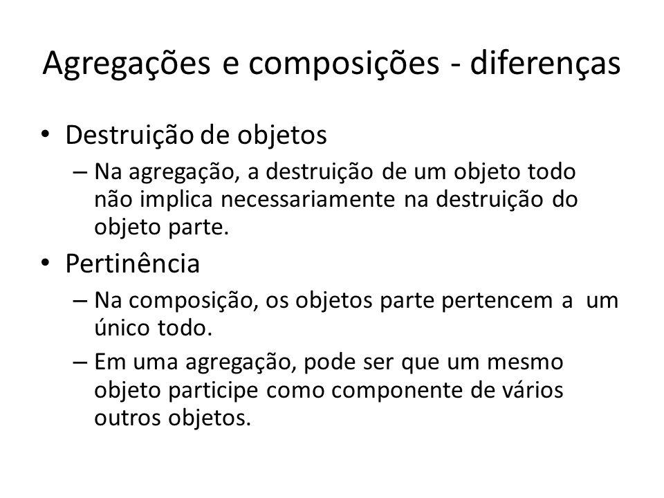 Agregações e composições - diferenças