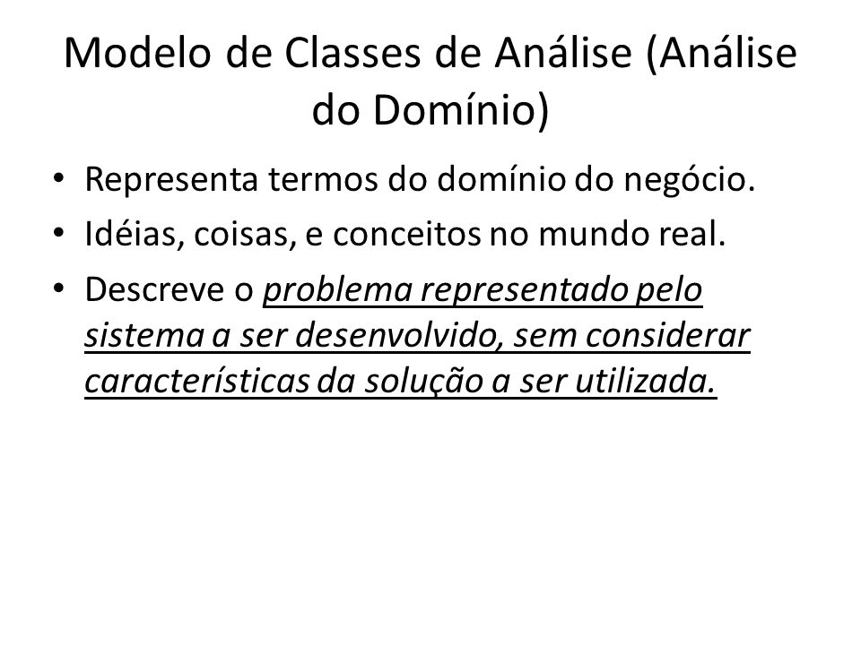 Modelo de Classes de Análise (Análise do Domínio)