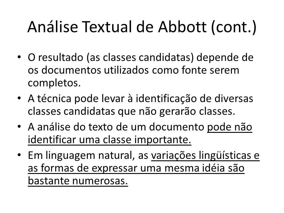 Análise Textual de Abbott (cont.)