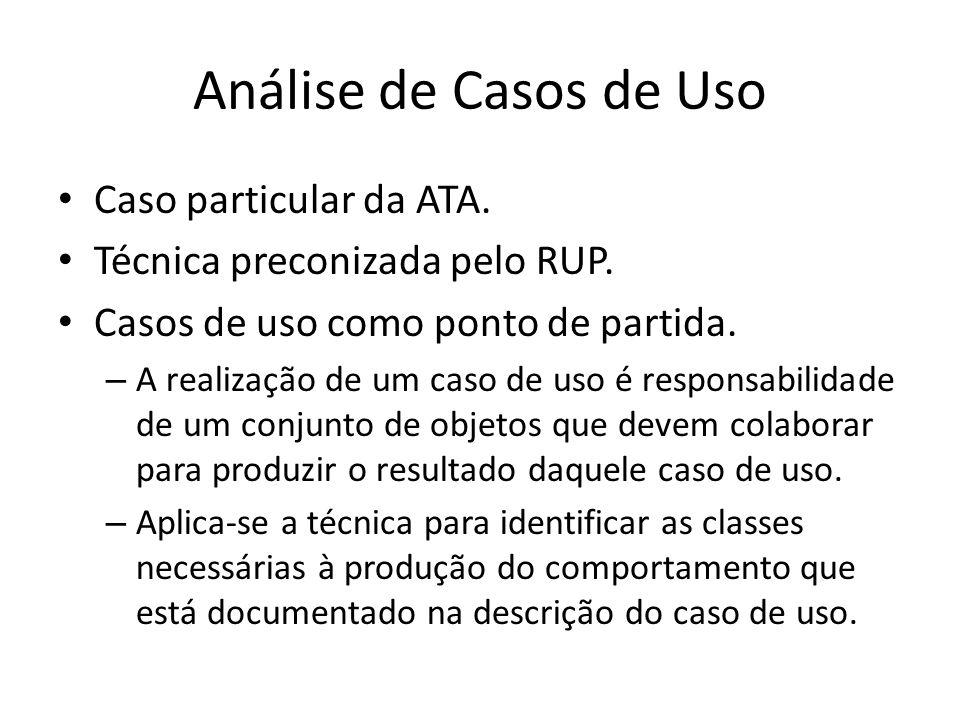 Análise de Casos de Uso Caso particular da ATA.