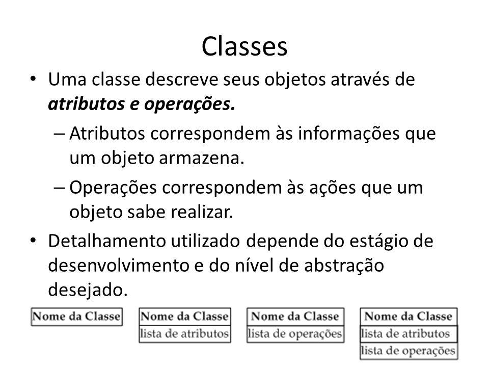 Classes Uma classe descreve seus objetos através de atributos e operações. Atributos correspondem às informações que um objeto armazena.