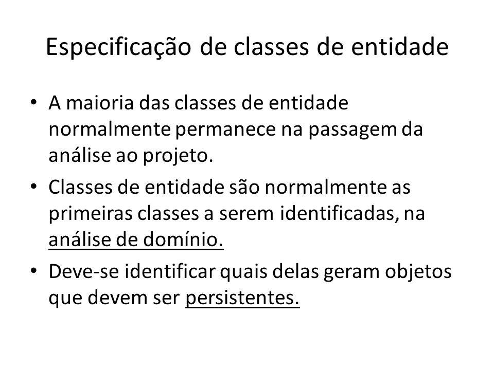 Especificação de classes de entidade
