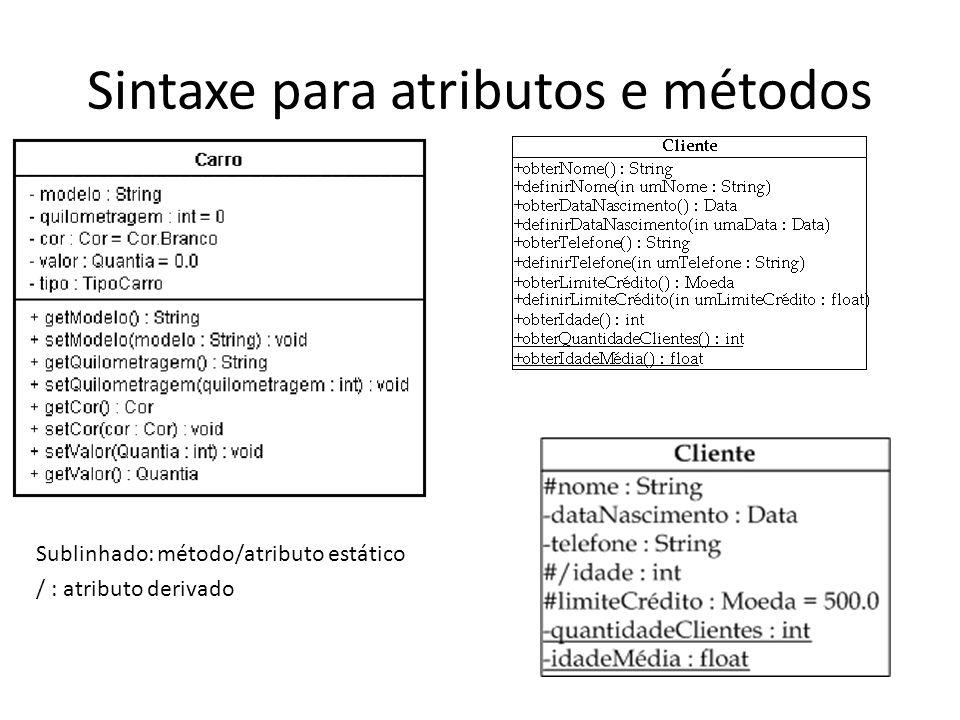 Sintaxe para atributos e métodos