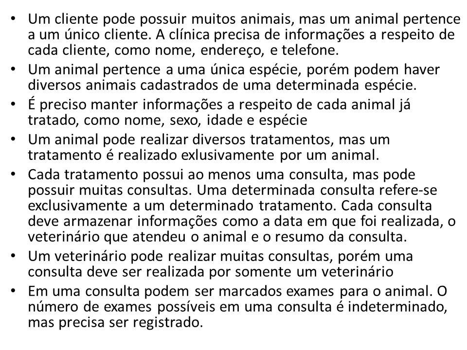 Um cliente pode possuir muitos animais, mas um animal pertence a um único cliente. A clínica precisa de informações a respeito de cada cliente, como nome, endereço, e telefone.