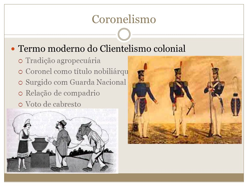 Coronelismo Termo moderno do Clientelismo colonial