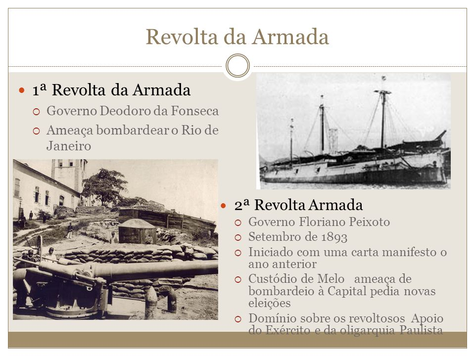 Revolta da Armada 1ª Revolta da Armada 2ª Revolta Armada