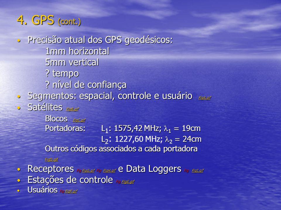 4. GPS (cont.) Precisão atual dos GPS geodésicos: 1mm horizontal