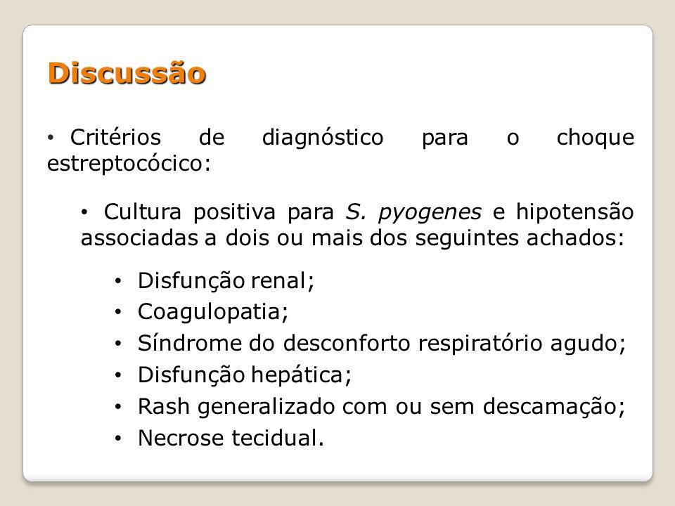 Discussão Critérios de diagnóstico para o choque estreptocócico: