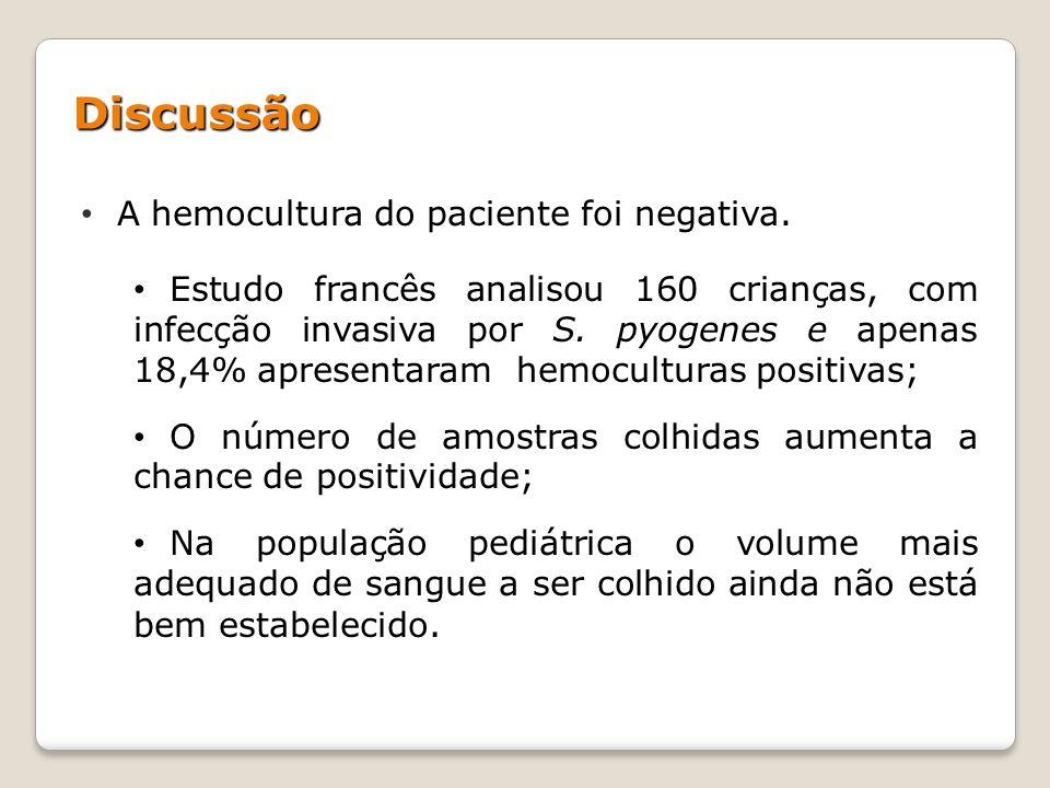 Discussão A hemocultura do paciente foi negativa.