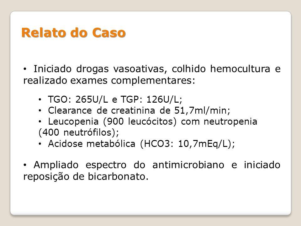 Relato do Caso Iniciado drogas vasoativas, colhido hemocultura e realizado exames complementares: TGO: 265U/L e TGP: 126U/L;