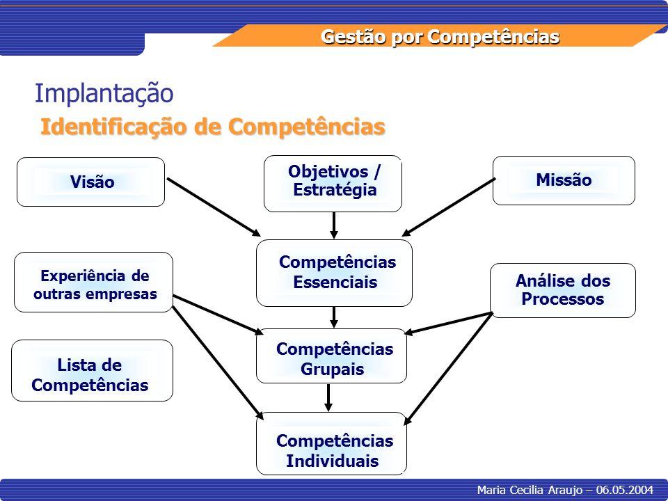 Implantação Identificação de Competências Objetivos / Estratégia Visão