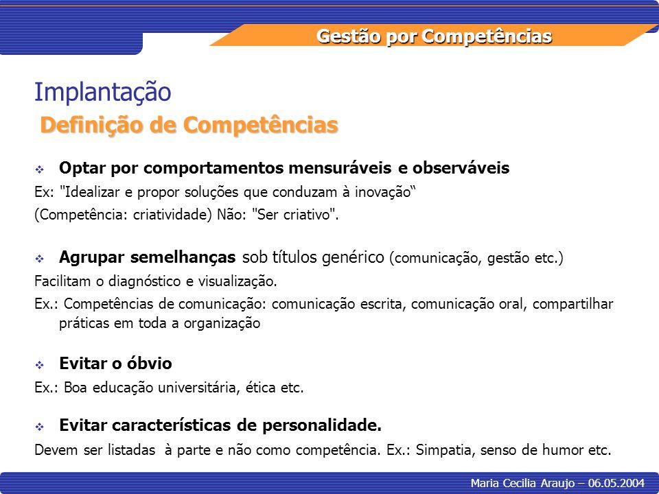 Implantação Definição de Competências