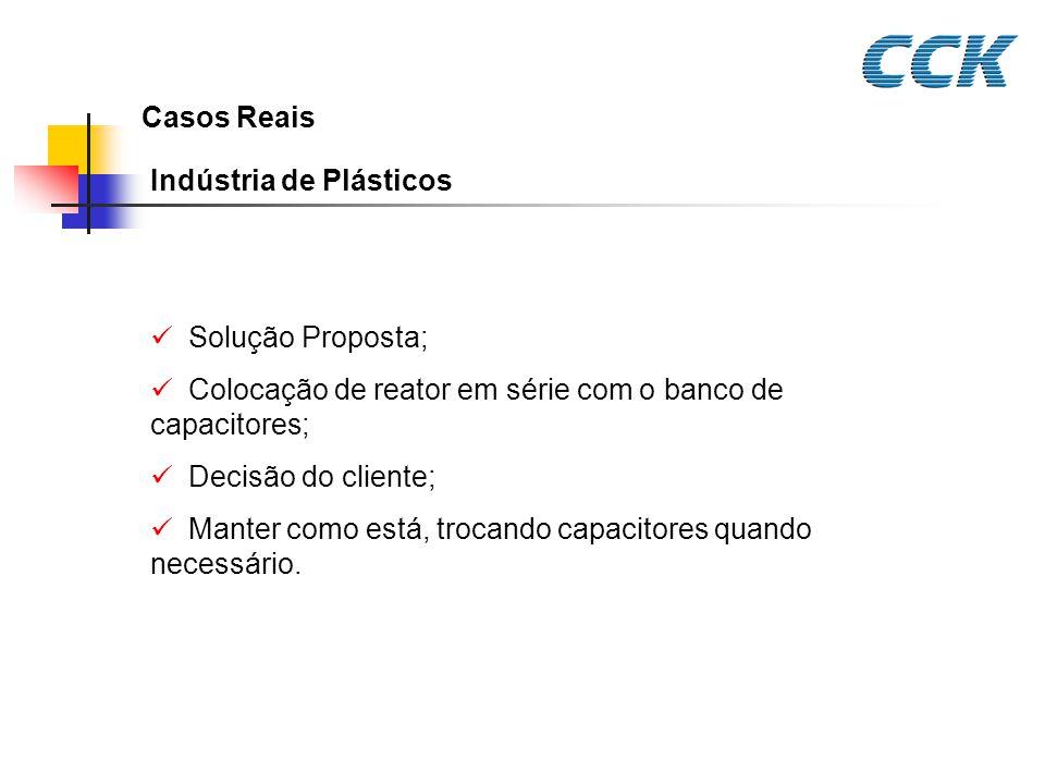 Casos Reais Indústria de Plásticos. Solução Proposta; Colocação de reator em série com o banco de capacitores;