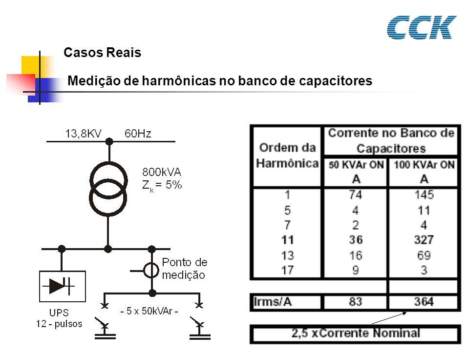 Casos Reais Medição de harmônicas no banco de capacitores