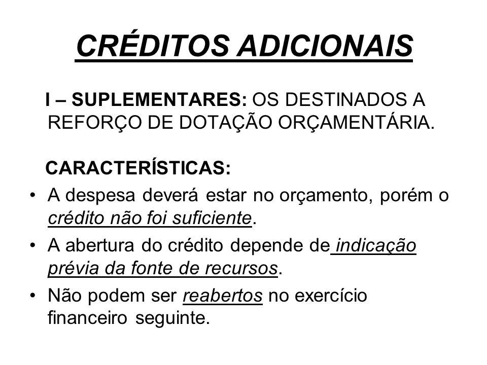 CRÉDITOS ADICIONAIS I – SUPLEMENTARES: OS DESTINADOS A REFORÇO DE DOTAÇÃO ORÇAMENTÁRIA. CARACTERÍSTICAS: