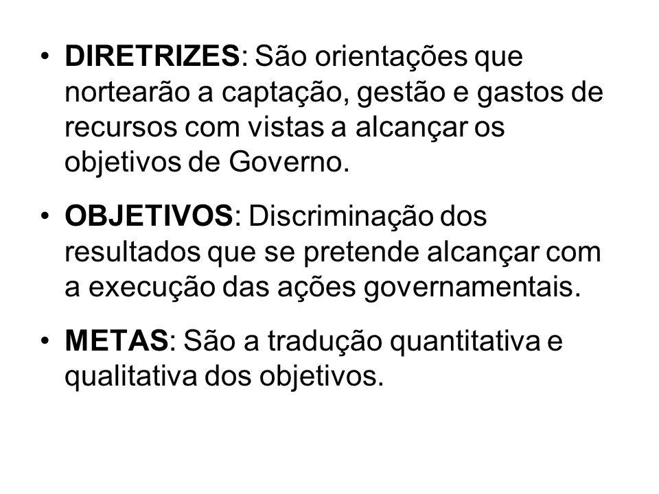 DIRETRIZES: São orientações que nortearão a captação, gestão e gastos de recursos com vistas a alcançar os objetivos de Governo.