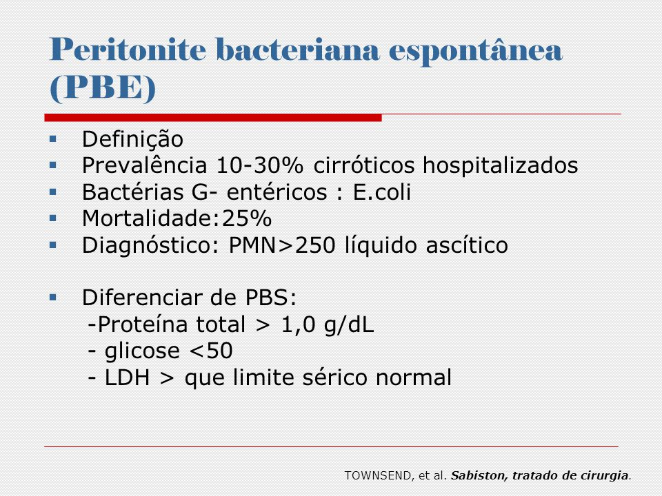 Peritonite bacteriana espontânea (PBE)
