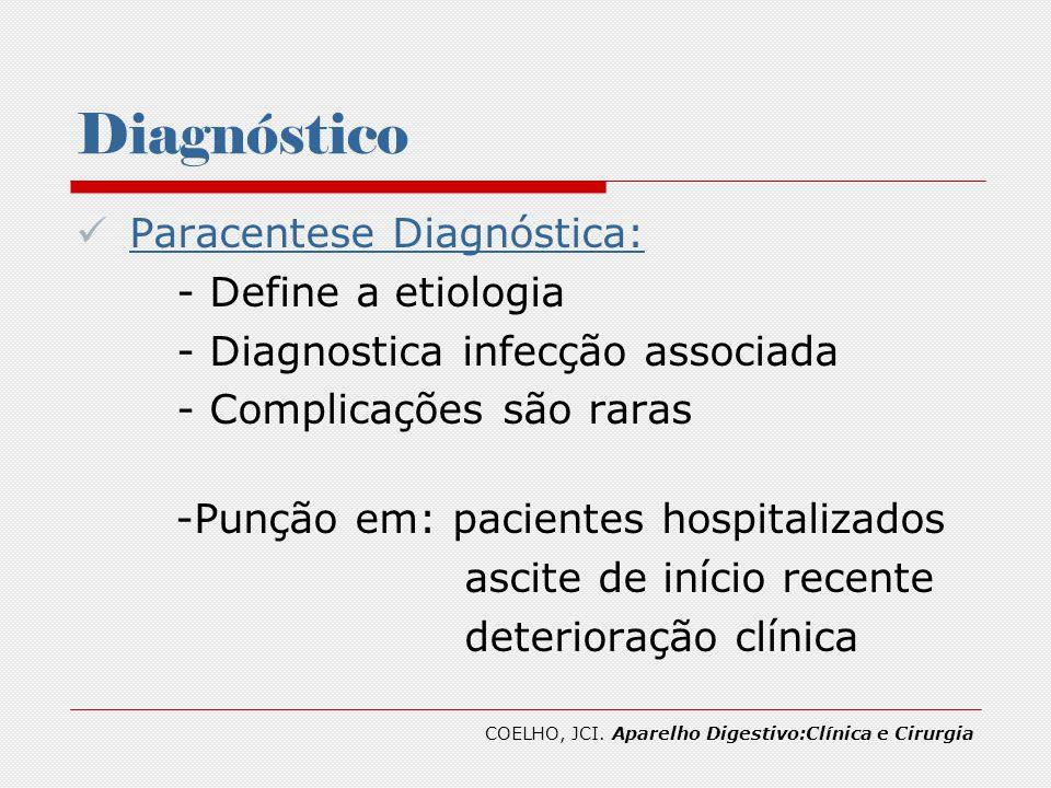 Diagnóstico Paracentese Diagnóstica: - Define a etiologia