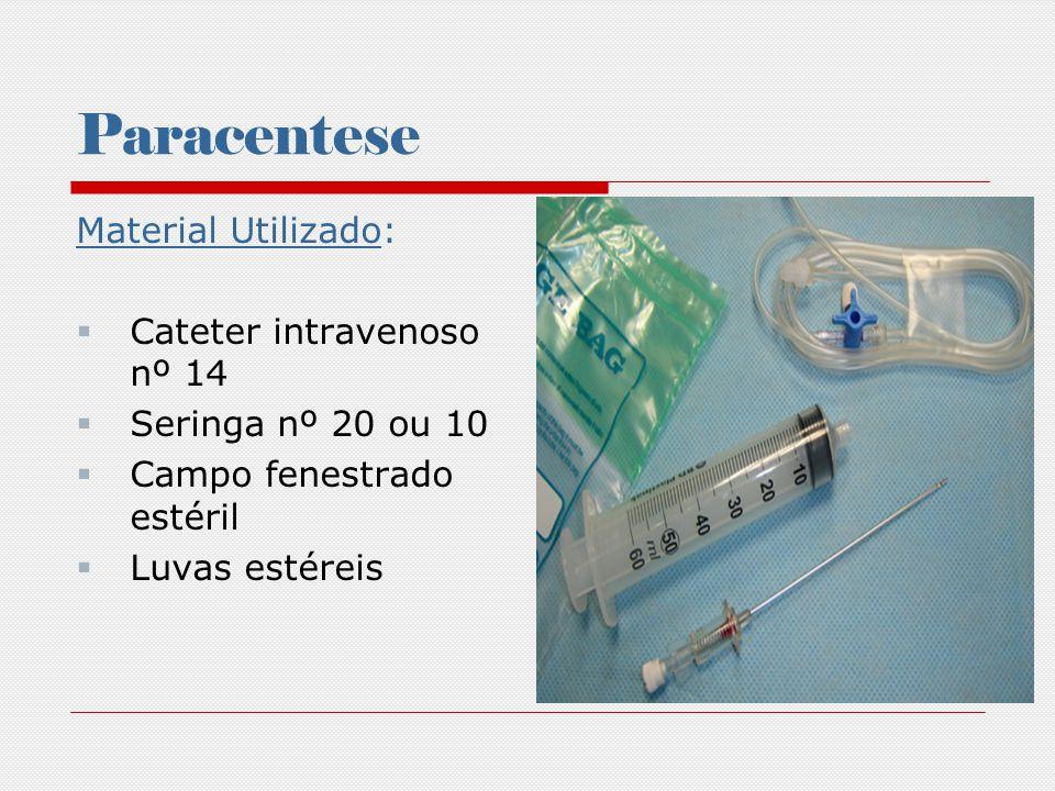 Paracentese Material Utilizado: Cateter intravenoso nº 14