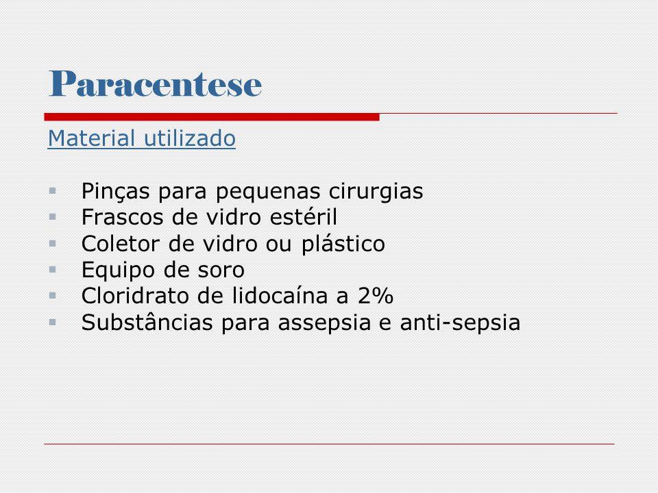 Paracentese Material utilizado Pinças para pequenas cirurgias