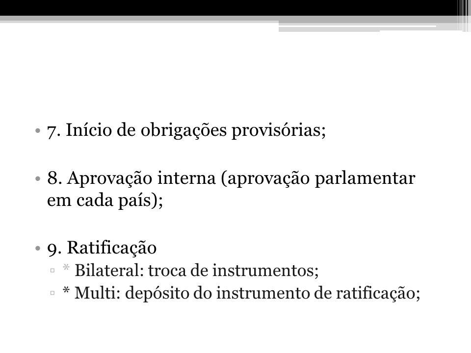 7. Início de obrigações provisórias;