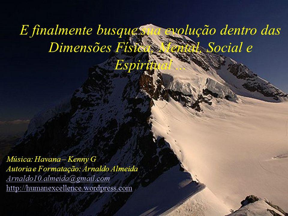 E finalmente busque sua evolução dentro das Dimensões Física, Mental, Social e Espiritual ...
