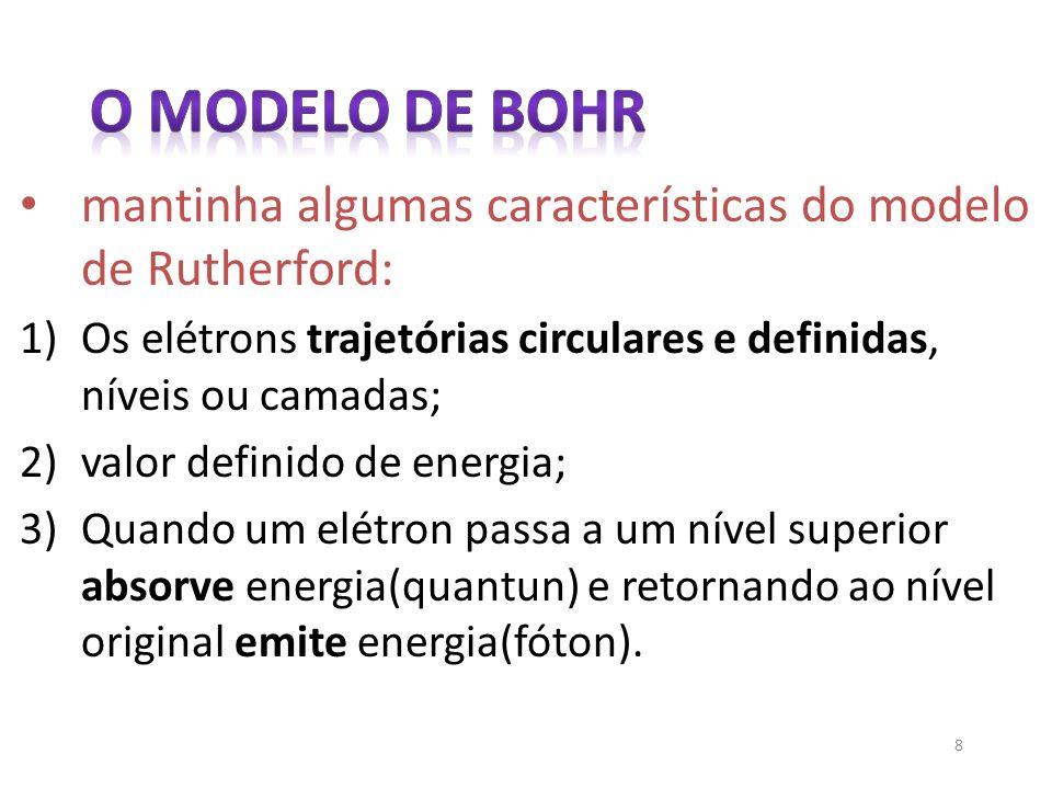 O modelo de Bohr mantinha algumas características do modelo de Rutherford: Os elétrons trajetórias circulares e definidas, níveis ou camadas;