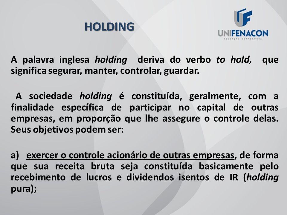 HOLDING A palavra inglesa holding deriva do verbo to hold, que significa segurar, manter, controlar, guardar.