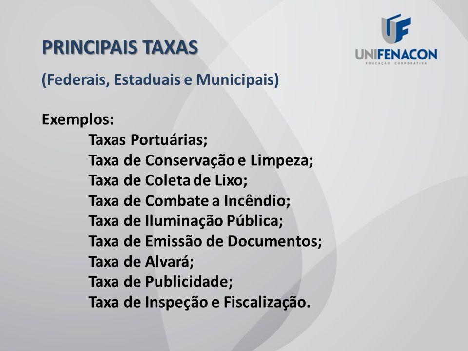PRINCIPAIS TAXAS (Federais, Estaduais e Municipais) Exemplos: