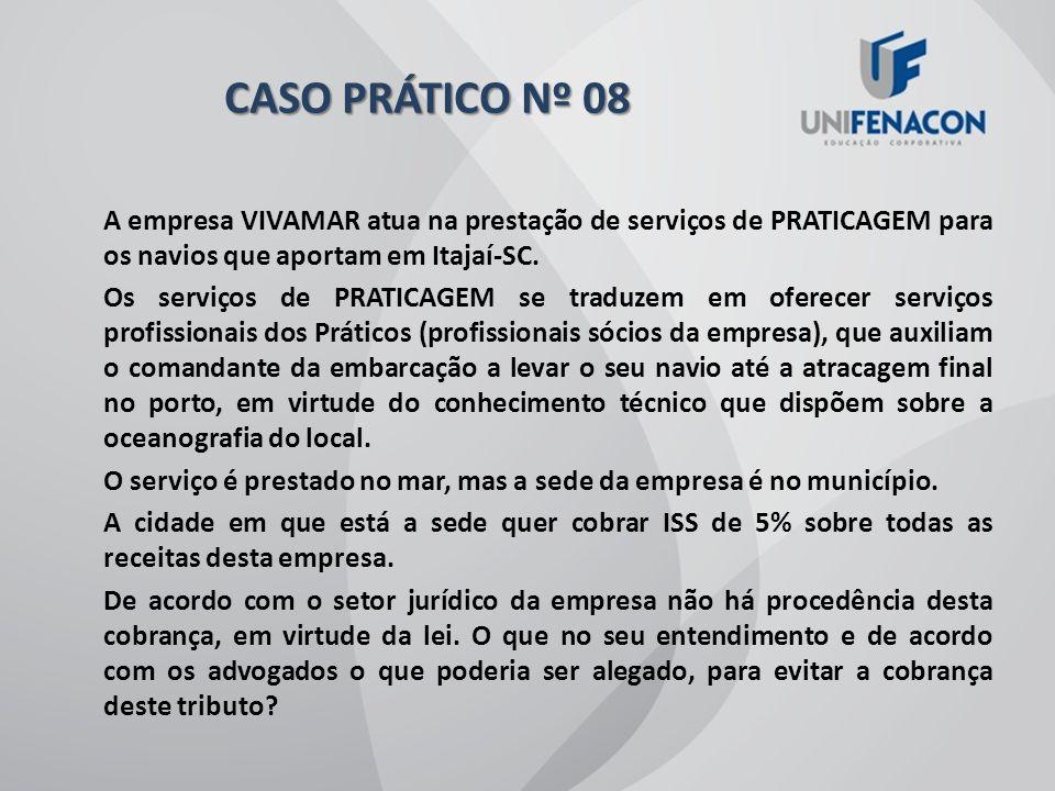 CASO PRÁTICO Nº 08 A empresa VIVAMAR atua na prestação de serviços de PRATICAGEM para os navios que aportam em Itajaí-SC.