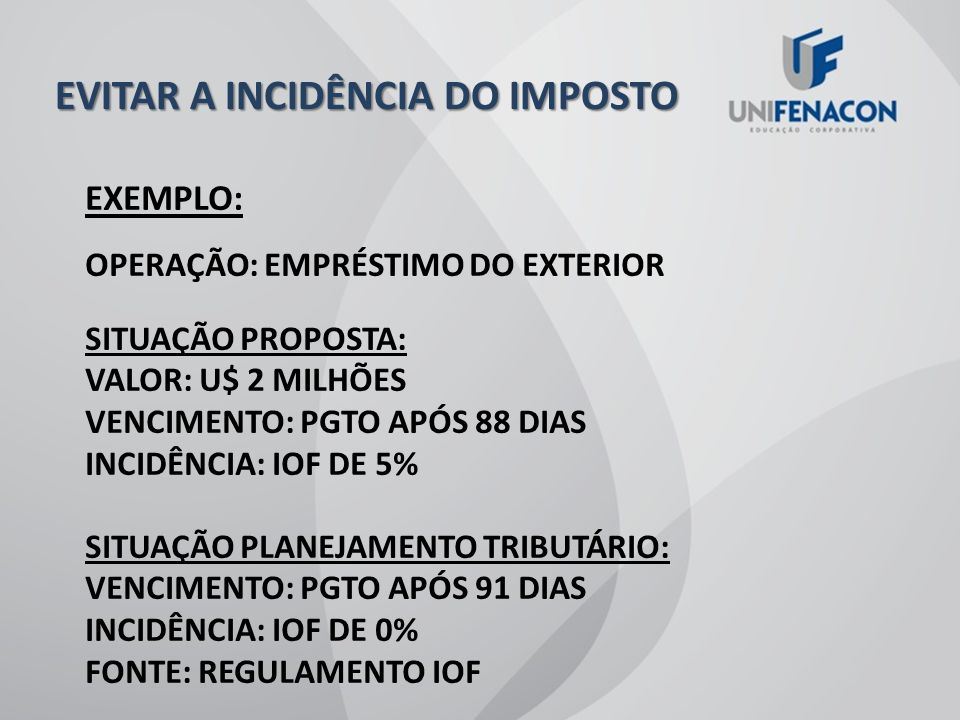 EVITAR A INCIDÊNCIA DO IMPOSTO