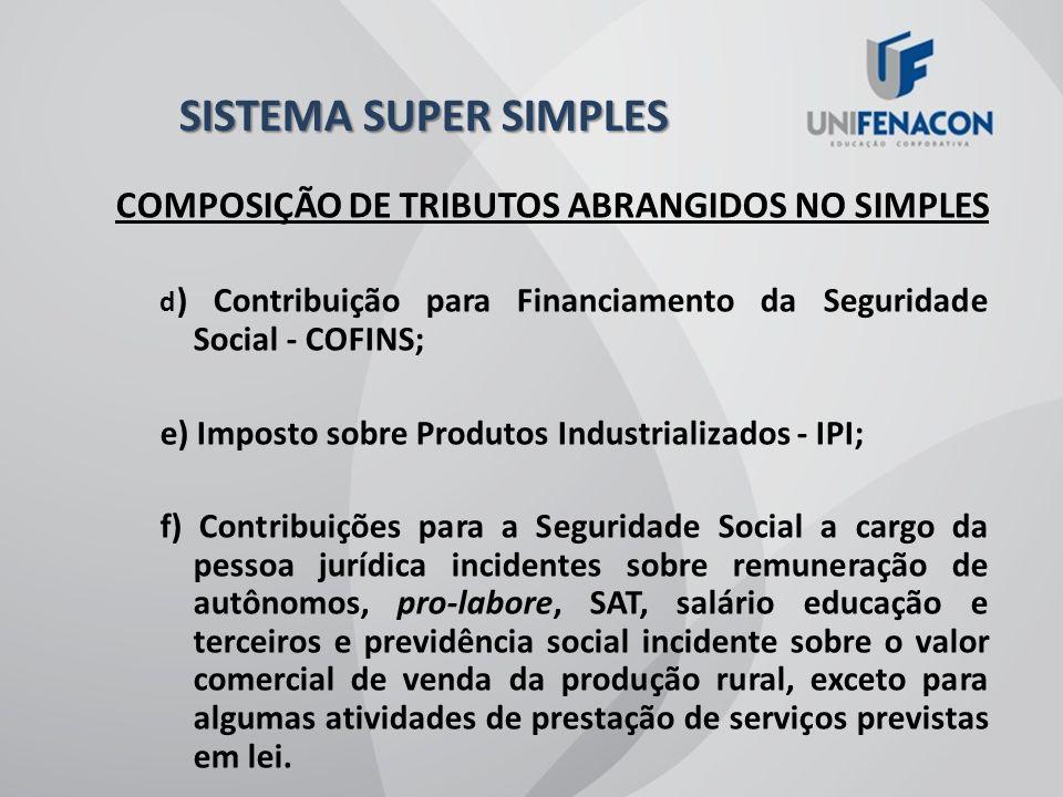 SISTEMA SUPER SIMPLES COMPOSIÇÃO DE TRIBUTOS ABRANGIDOS NO SIMPLES