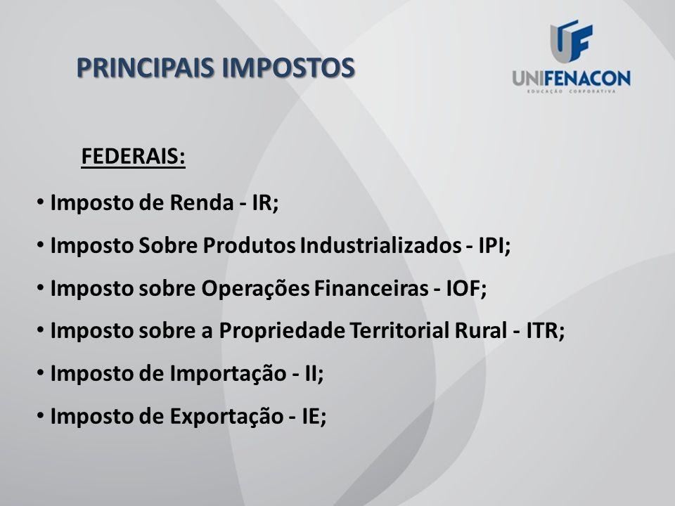 PRINCIPAIS IMPOSTOS FEDERAIS: Imposto de Renda - IR;