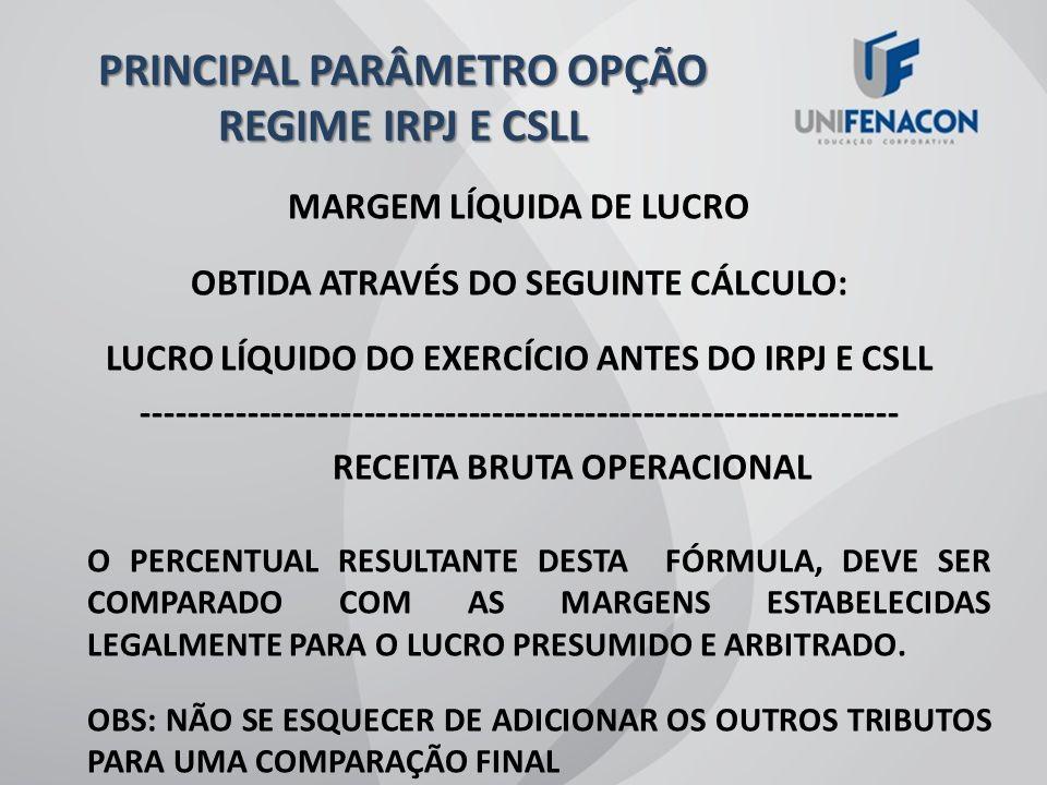 PRINCIPAL PARÂMETRO OPÇÃO REGIME IRPJ E CSLL