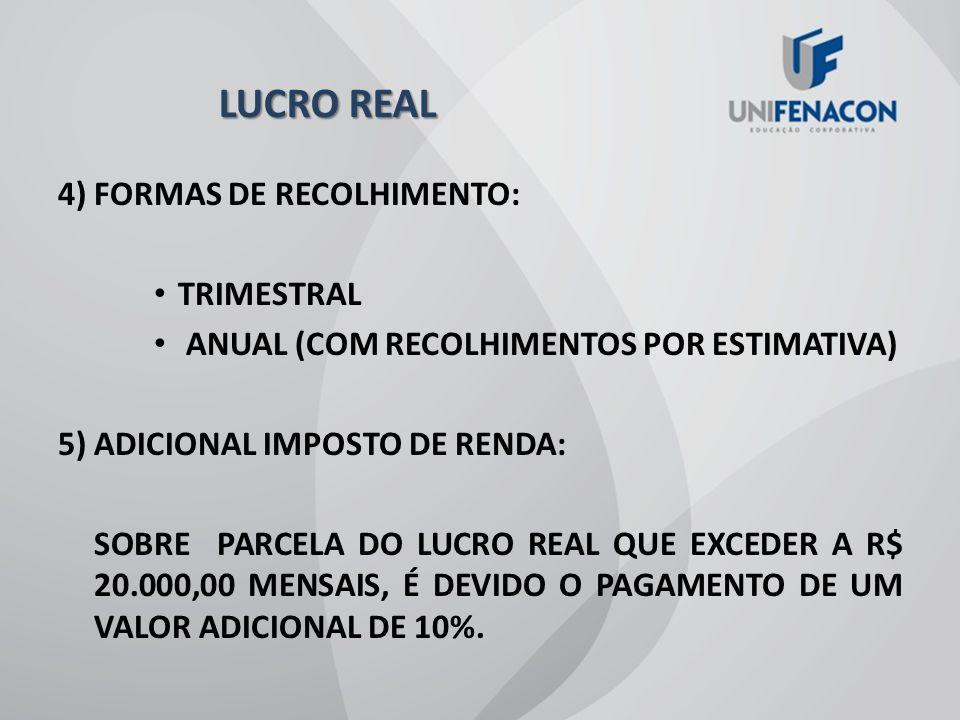 LUCRO REAL 4) FORMAS DE RECOLHIMENTO: TRIMESTRAL