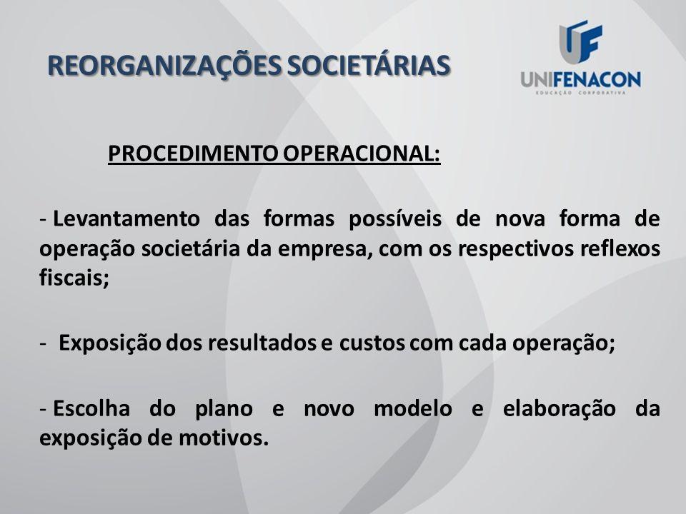 REORGANIZAÇÕES SOCIETÁRIAS
